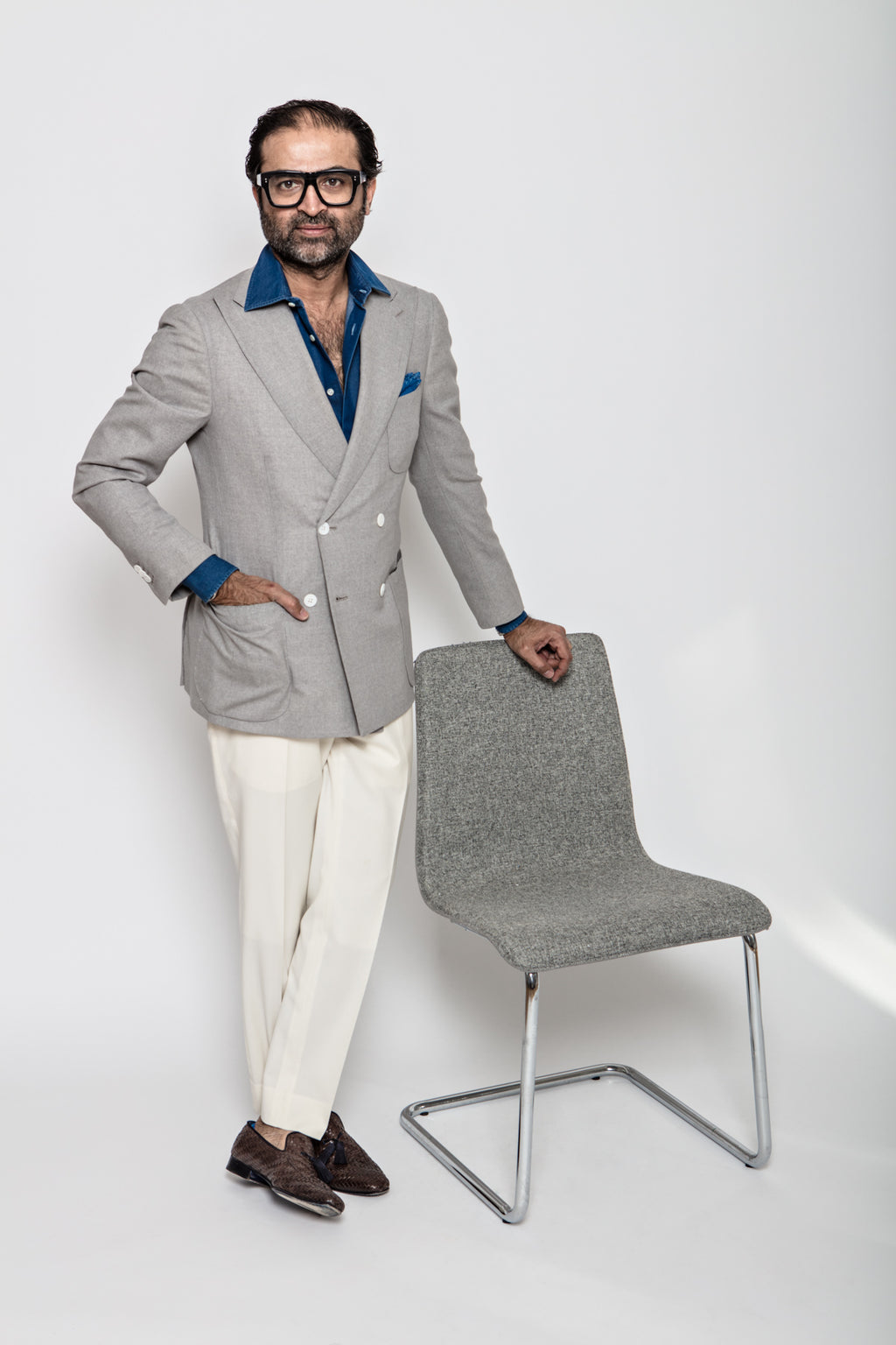 Marcello Double Breasted Sport Coat in Worsted Wool