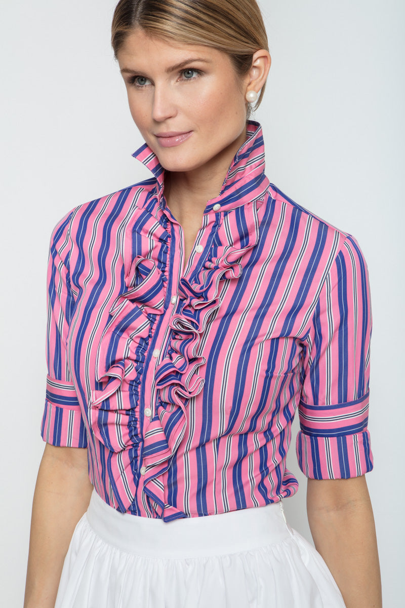 Belinda Blouse in Pink Stripe