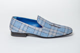 Blue and Grey Plaid Slipper