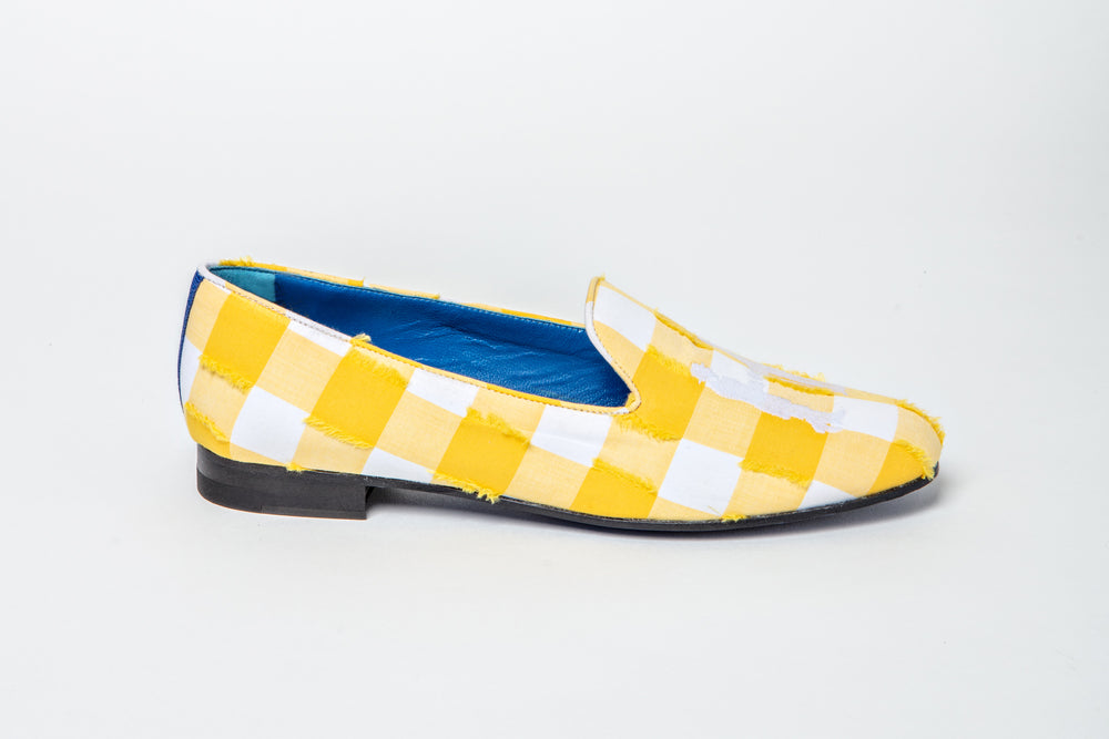 Slipper in Yellow and White Check