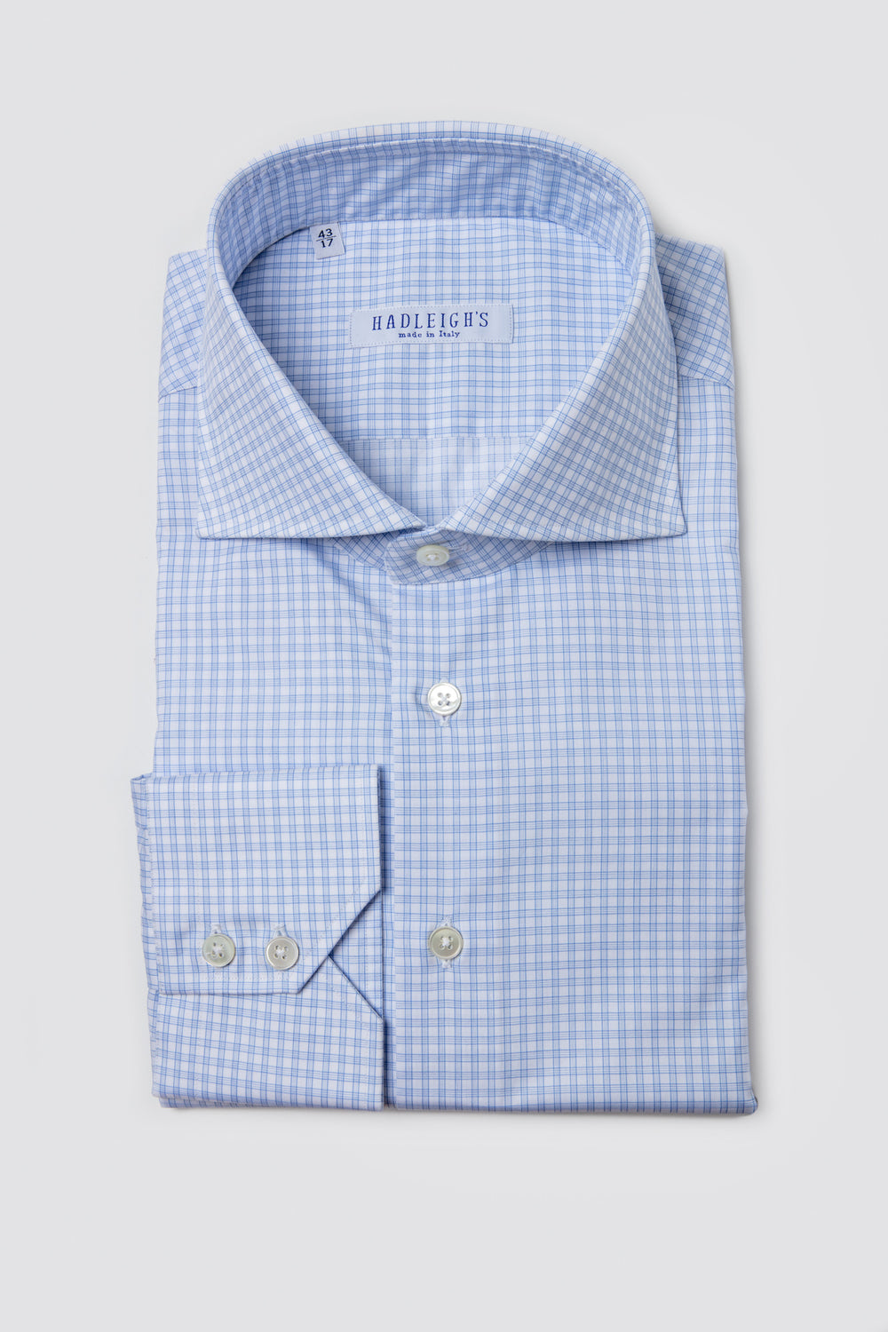 White and Blue Multi-Check Shirt