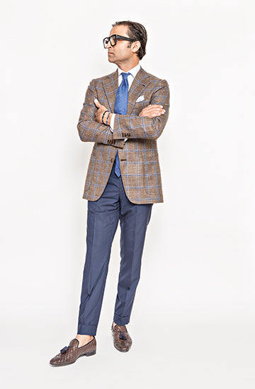 Brown and Blue Plaid Sport Jacket