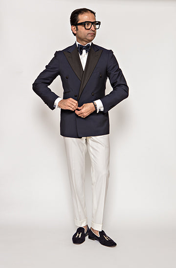 Navy Blue Double-Breasted Tuxedo Jacket