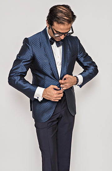 Navy Blue Polka Dot Dinner Jacket