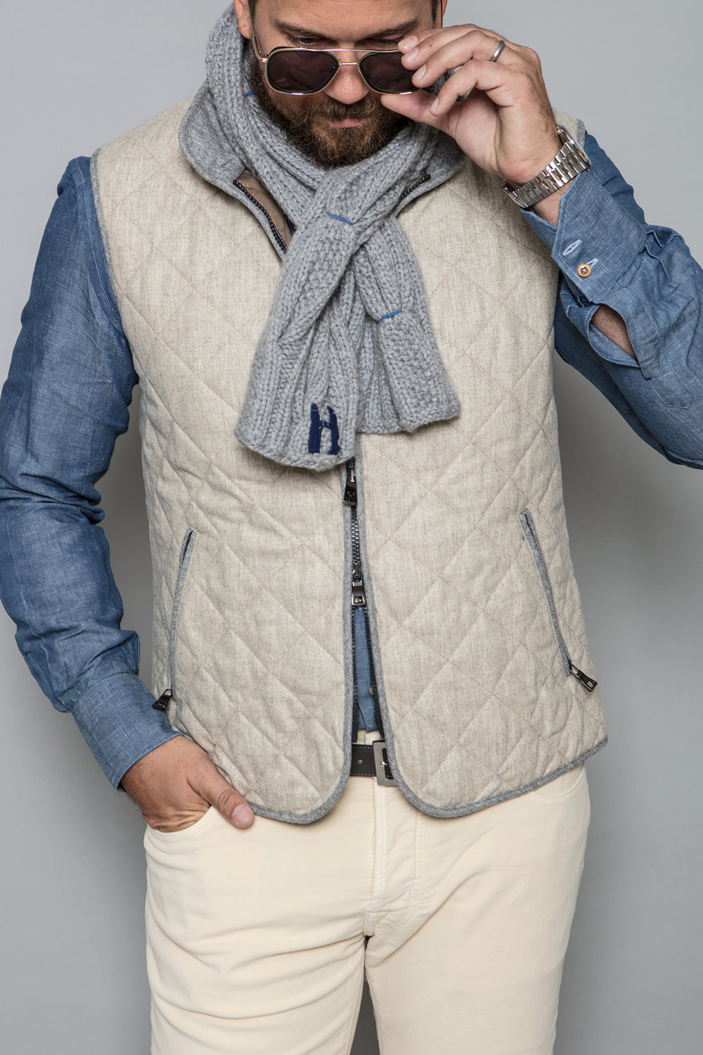 Quilted Vest in Oatmeal