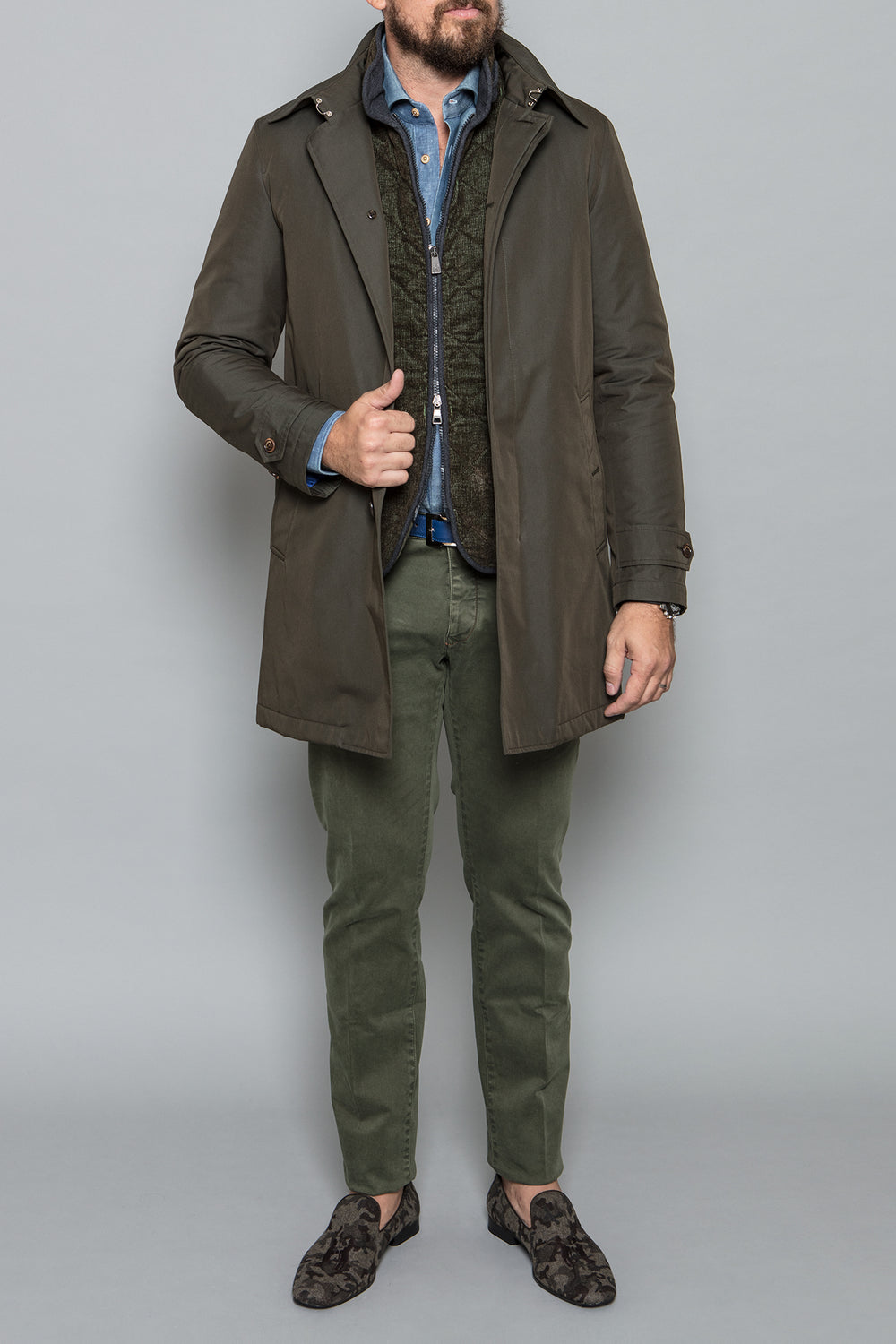 Quilted Vest in Olive