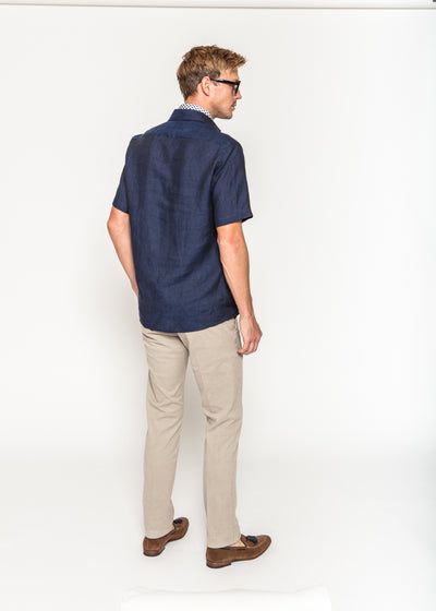 Short Sleeve Popover in Navy