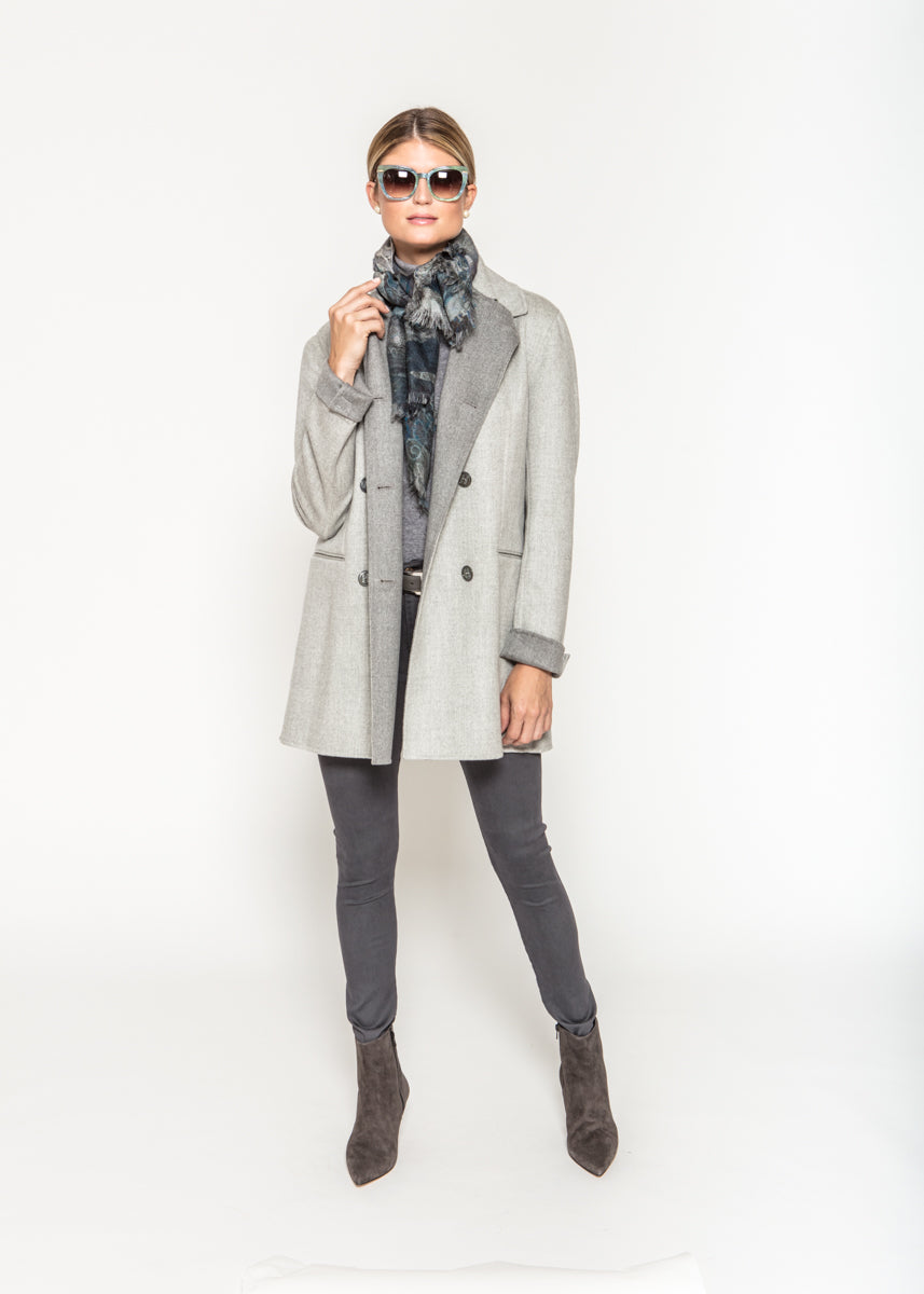 Double Breasted Overcoat in Grey