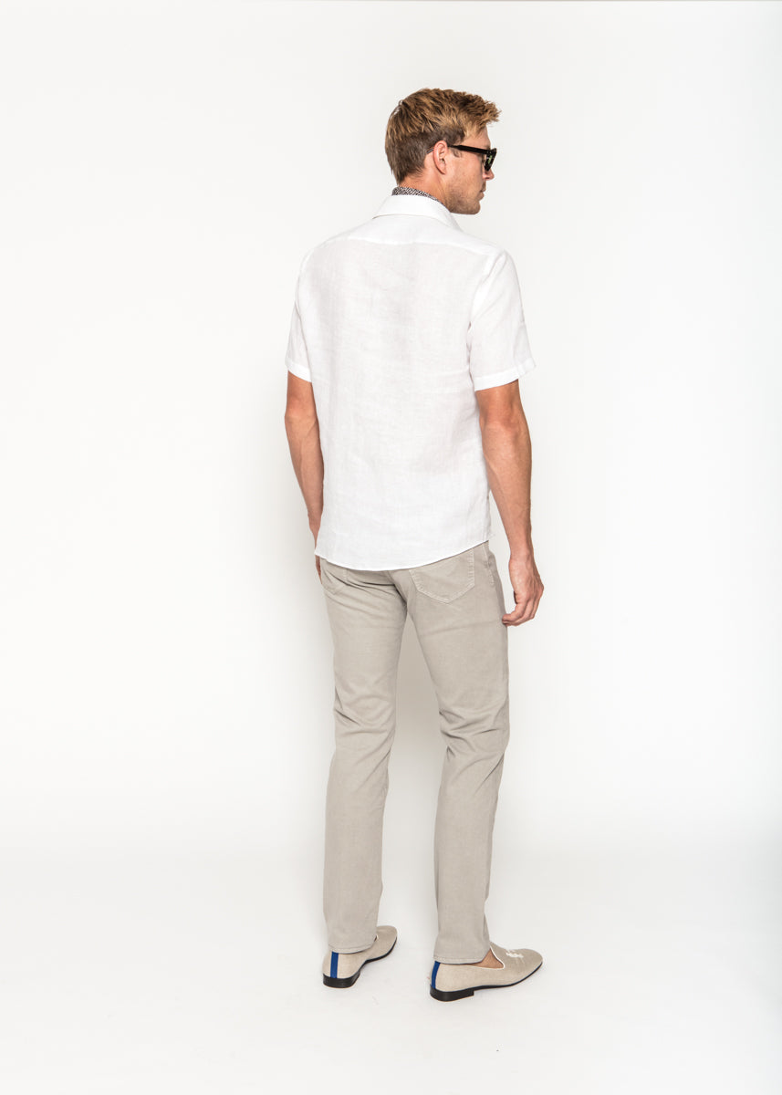 Short Sleeve Popover in White