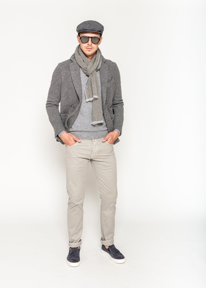 Double Breasted Knit Jersey Unlined Jacket
