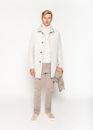 Nylon Overcoat in Cream