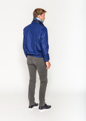 Nylon Bomber Jacket in Cobalt and Navy