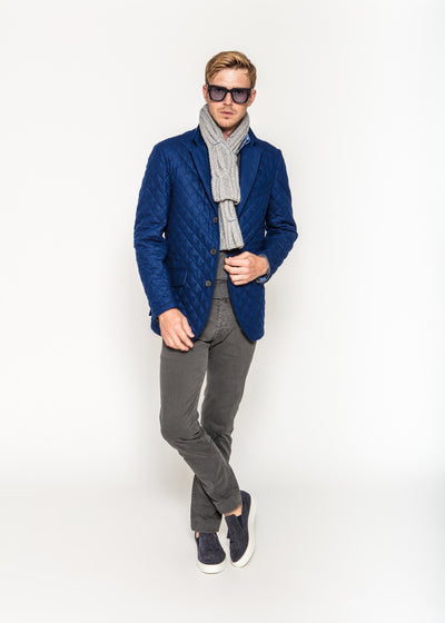 Quilted Outerwear in Cobalt