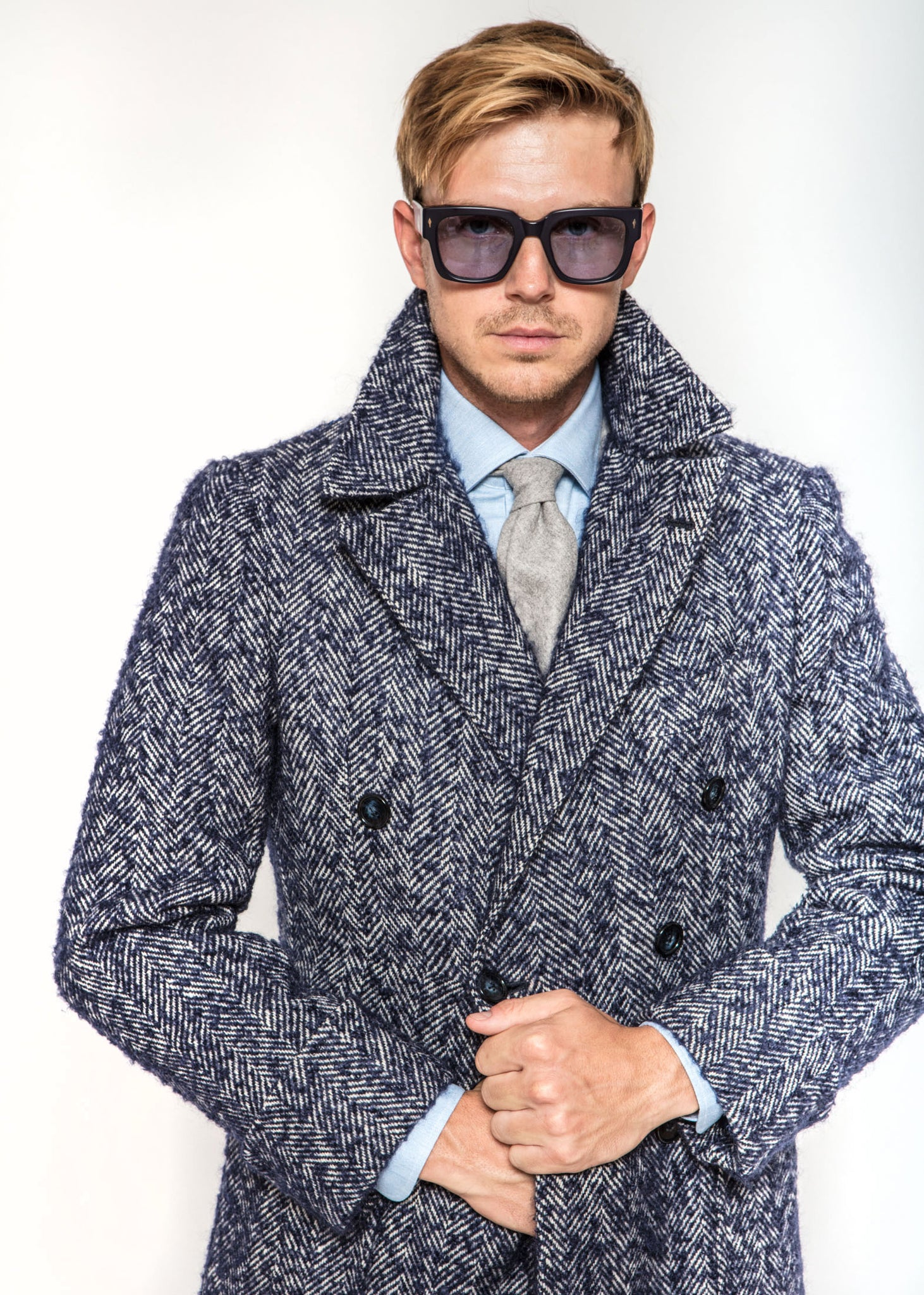 Martingall Back Coat in Blue Herringbone