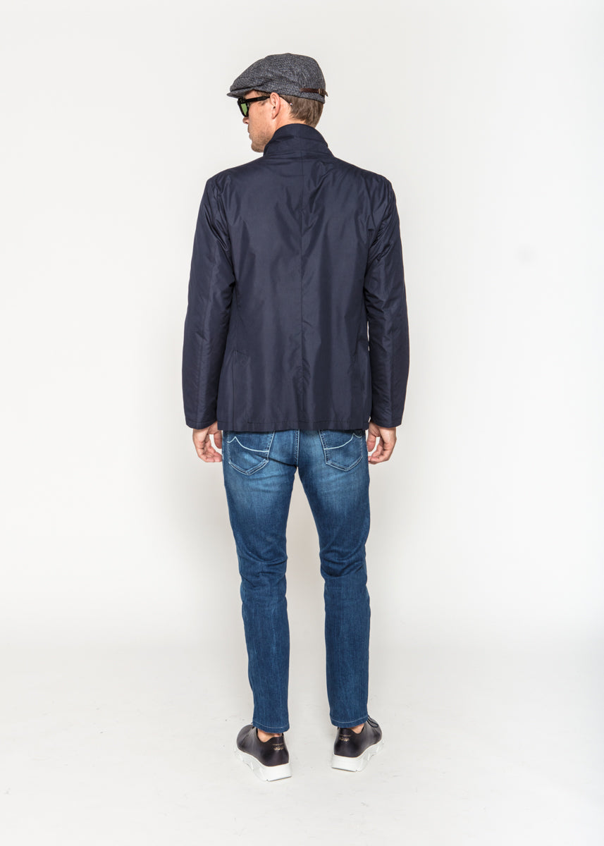 Navy Nylon Raincoat