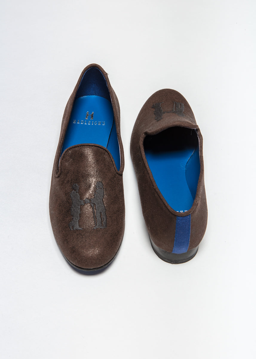 Slipper in Waxed Brown