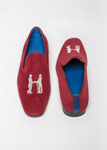 Slipper in Red Cashmere Corduroy