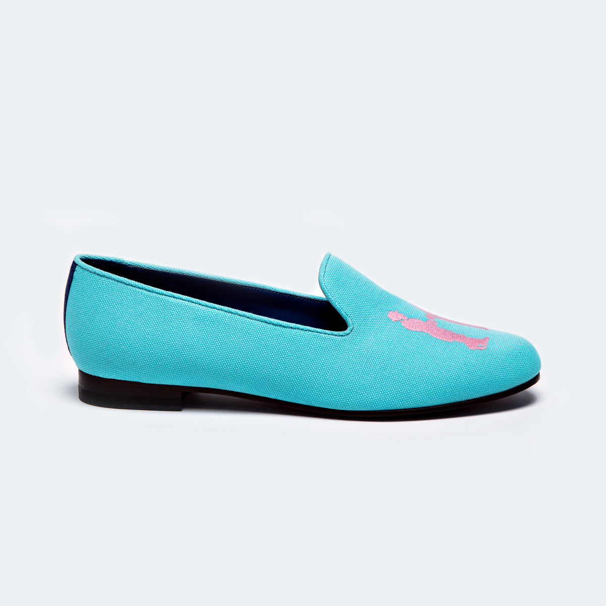 Slipper in Aqua with Pink