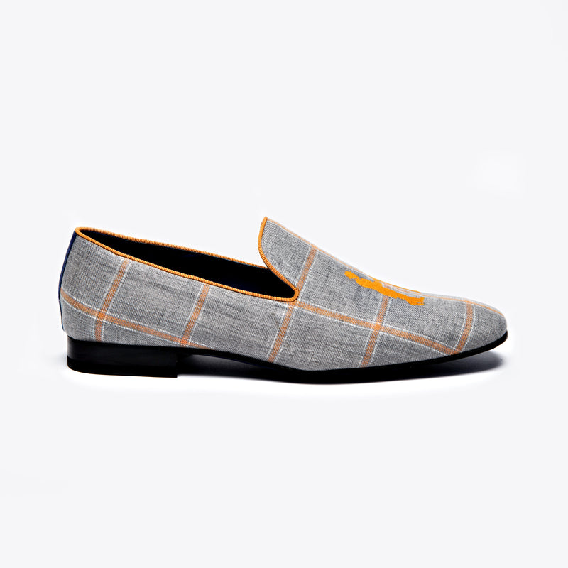Slipper in Charcoal with Orange Plaid