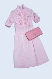 Margherita Dress in Pink and White Stripe