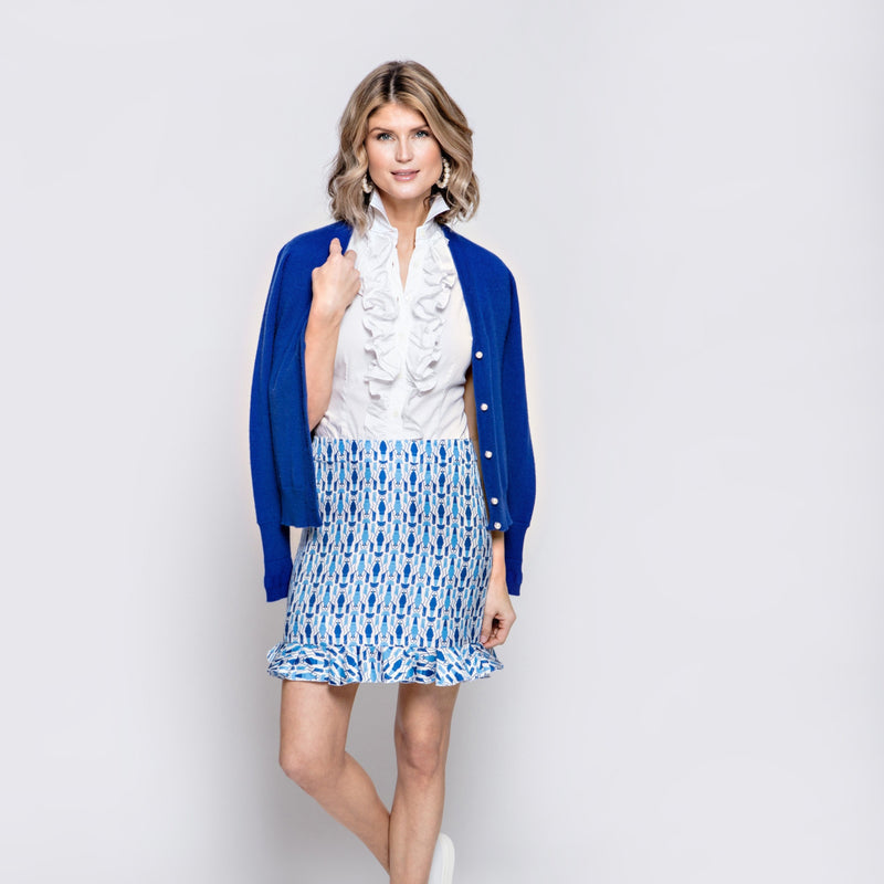 Ali Skirt in Blue Lobster Print