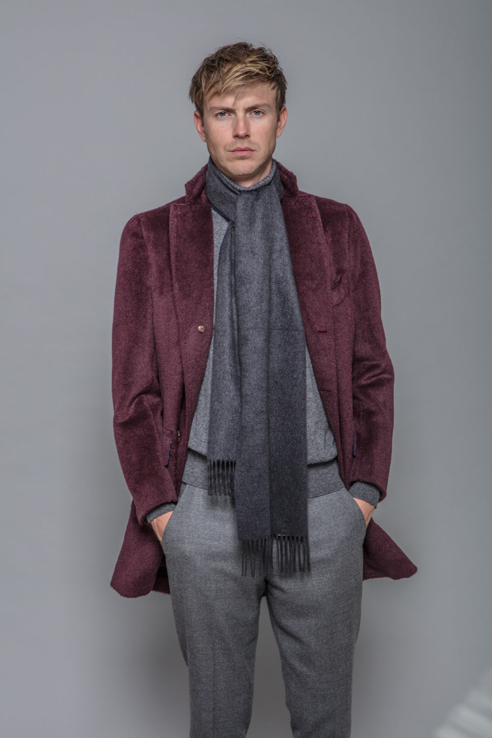 Burgundy Alpaca Coat