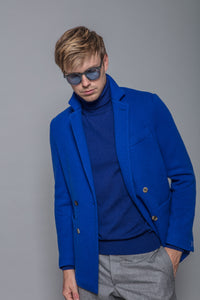 Wool and Cashmere Jacket in Cobalt
