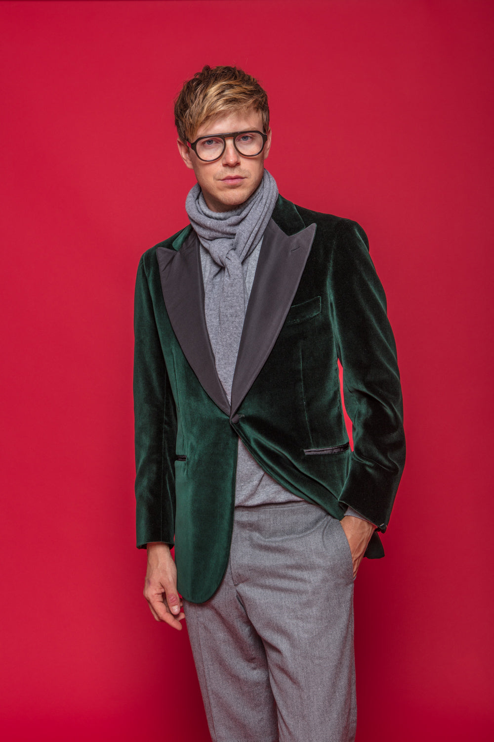 Green Velvet Smoking Jacket