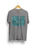 """Uski Life Water Blue"" Printed Pure Cotton Half Sleeve t-shirt (Color options Available)"