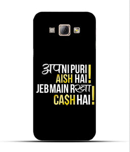 """Apni Puri Aish Hain, Jeb Me Rakha Cash Hain"" Printed Matt Finish Mobile Case for Samsung A8"