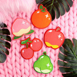 5 PIECE FRUITY IRON-ON PATCH SET