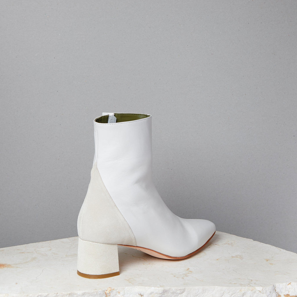 Lou Luxury Footwear: Simone Boot - Women's White Nappa Leather Ankle Boot, Handmade in LA