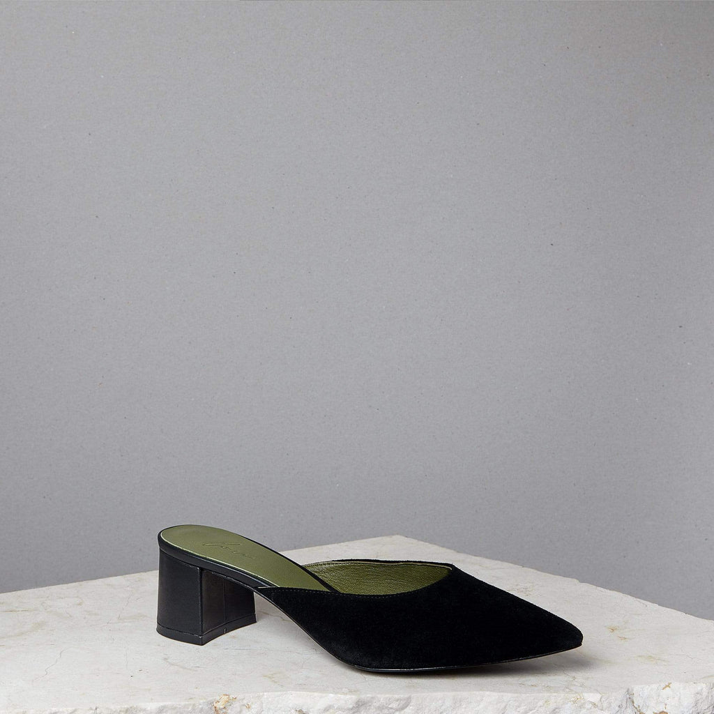 Lou Luxury Footwear: Bardot Mule - Women's Black Suede Mules, Handmade in LA