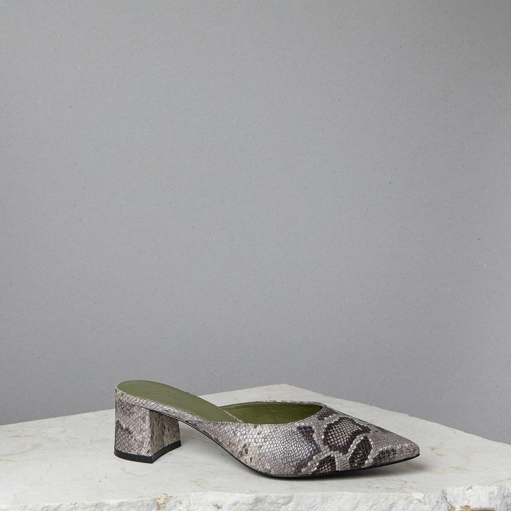 Lou Luxury Footwear: Bardot Mule - Women's Python Leather Mules, Handmade in LA