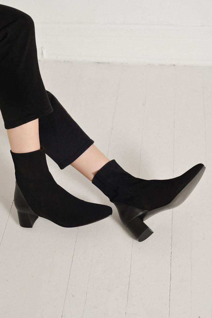 Lou Luxury Footwear: Simone Boot - Women's Black Suede Boot, Handmade in LA