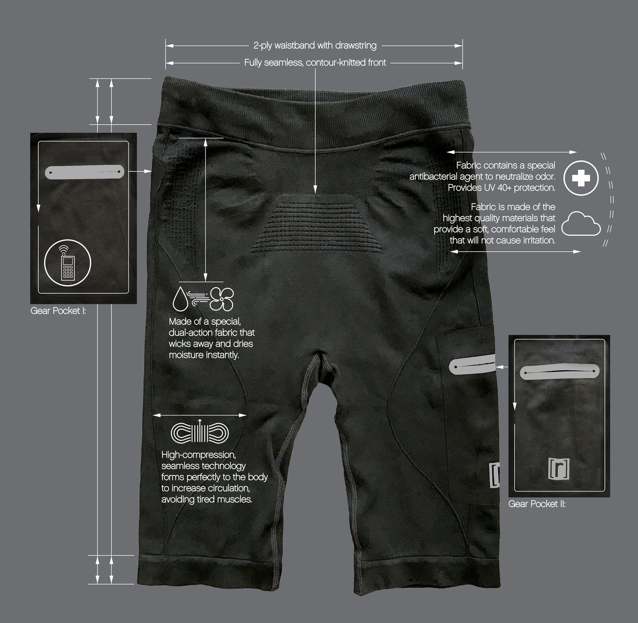 Black compression pant with patented fully seamless front, pocket. Tech info.