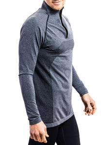 Graphite quarter-zip compression top with bonded zipper. Side view.