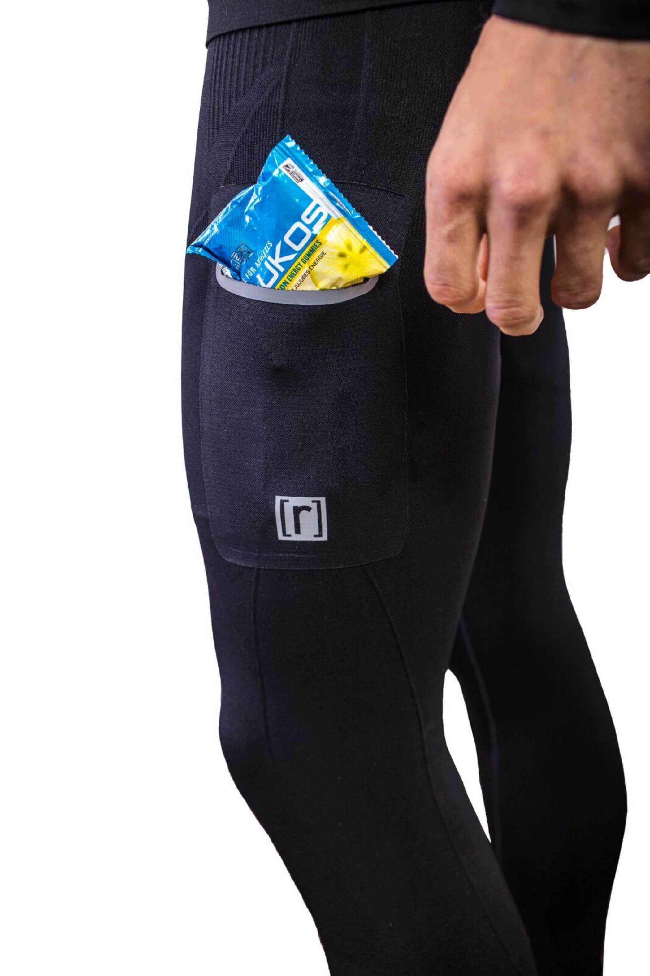 Black compression pant with patented fully seamless front, pocket. Pocket detail.