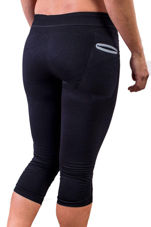 Black compression pant with patented fully seamless front and pockets. Back view.