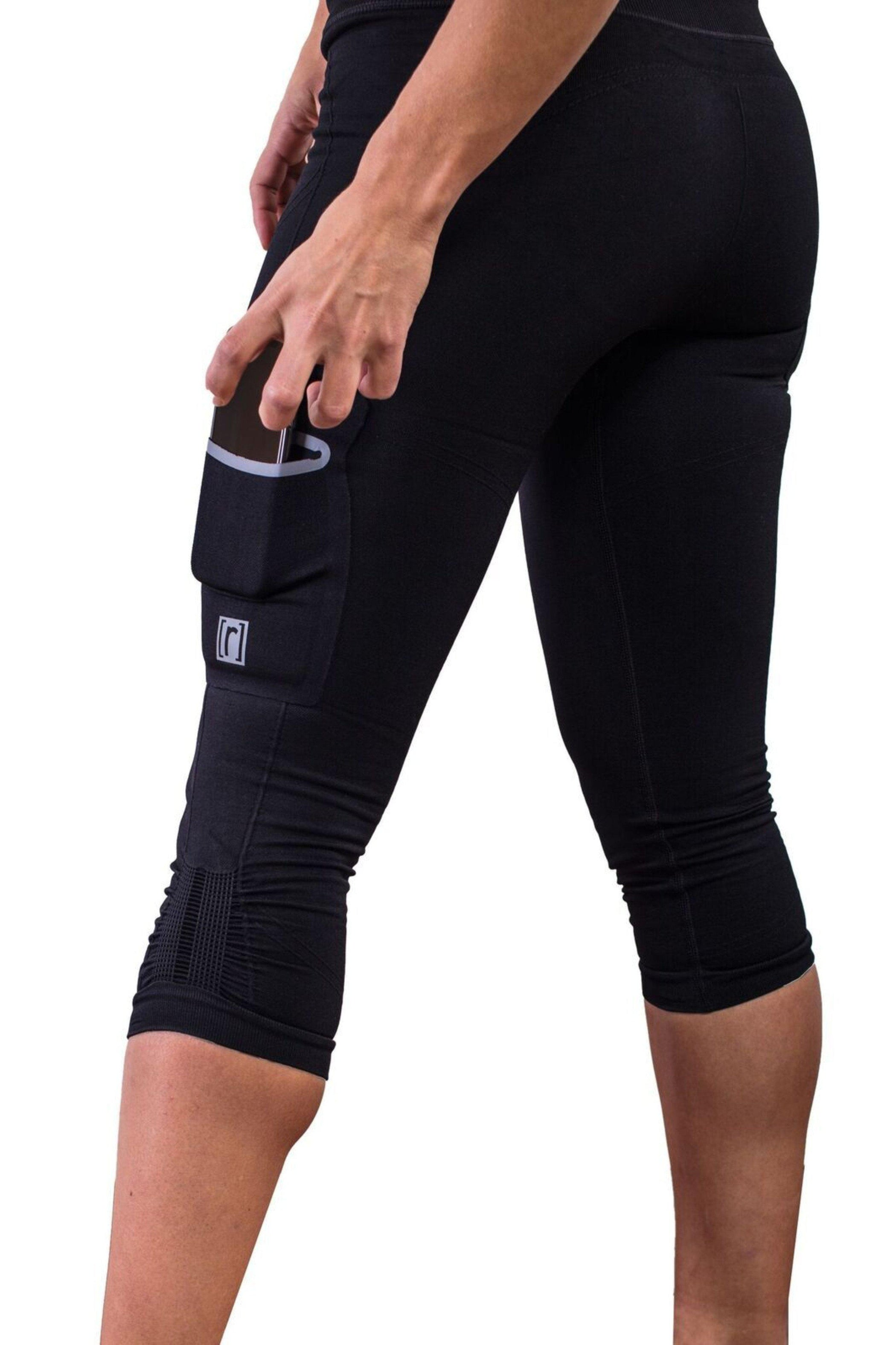Black compression pant with patented fully seamless front and pockets. Pocket detail.