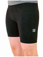 Black compression shorts with patented fully seamless front with 6 inch inseam.