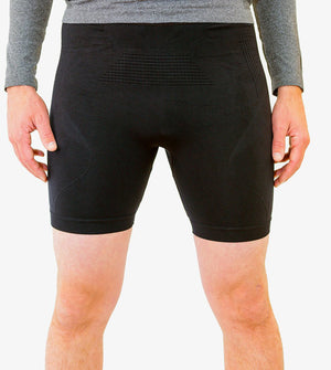 Black compression shorts with patented fully seamless front with 6 inch inseam. Front view.