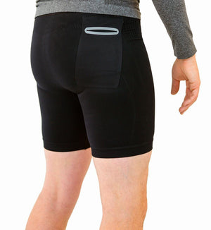 Black compression shorts with patented fully seamless front, pockets and 6 inch inseam. Back view.