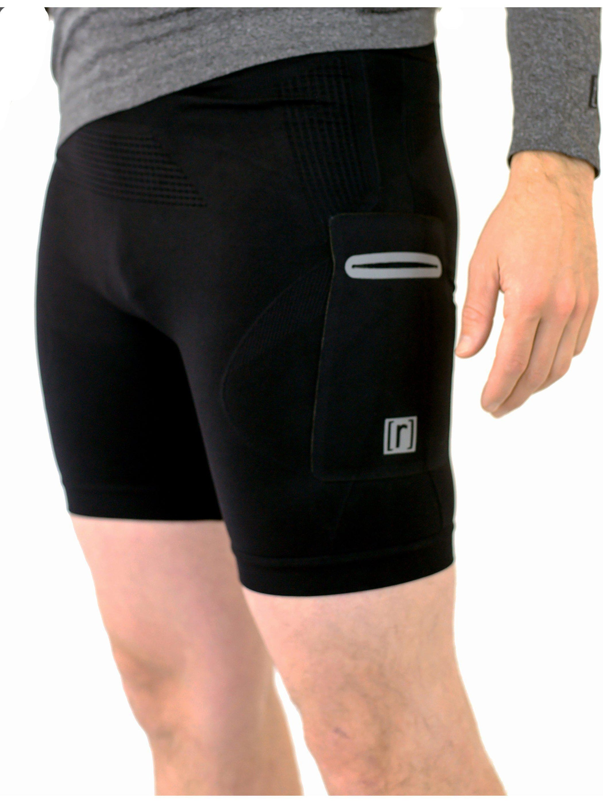 Black compression shorts with patented fully seamless front, pockets and 6 inch inseam. Side view.