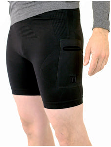 Black compression shorts with patented fully seamless front, pockets and 6 inch inseam.
