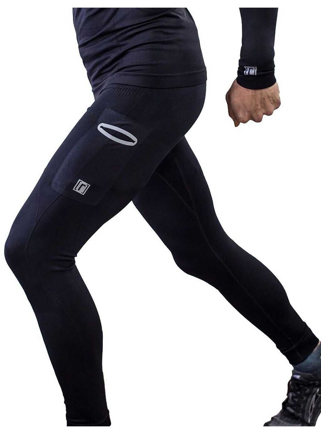 Black compression pant with patented fully seamless front and pocket. Side view.