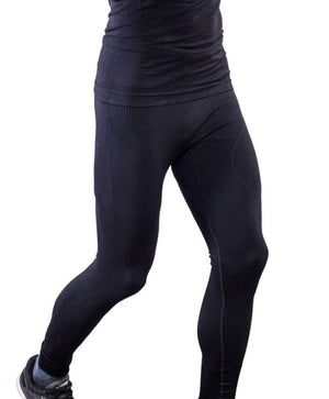 Black compression pant with patented fully seamless front and pocket. Front view.