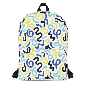 Multi Color Squiggle Pattern Backpack