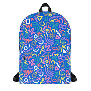 90s Blue Squiggle Pattern Backpack