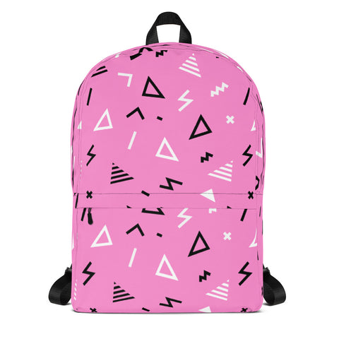90sPink Squiggle Pattern Backpack